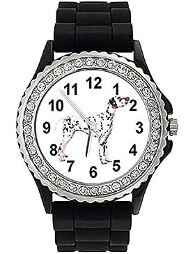 Timest - Dalmatiner Strass Damenuhr mit Silikonband Rund Analog Quarz SGP263