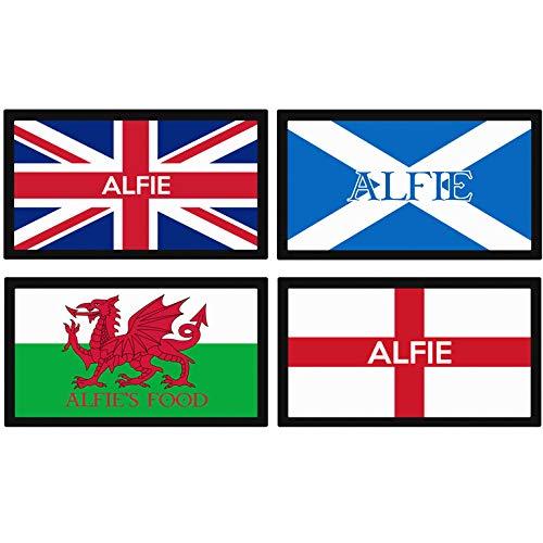 Personalisierbare Fressnapf-Matte für Hunde, Motiv Britische, Schottische, walisische, englische Flagge, personalisierbar -