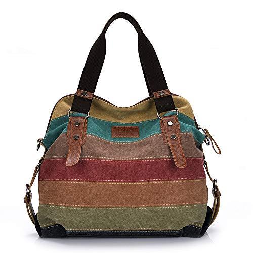 Marsoul Damen Handtasche, Damen-Umhängetaschen Multi-Color-Striped Umhängetasche Canvas Shopper Tasche Vintage Bags (Grün) -
