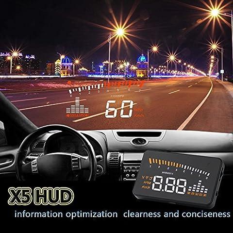BLESYS 2015 OBD2 HUD X5 3 pouces affichage tête-up pour OBDII voiture multi-couleur Vitesse d'affichage, la vitesse du moteur, la vitesse d'alarme