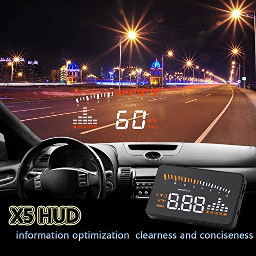 BLESYS-Head-Up-Display-HUD-for-OBD2-or-GPS-Cars-Multi-Color-Display-Speed-Engine-Speed-Speed-Alarm