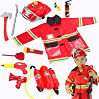JOYIN Kids Fireman Fire Fighter Fancy Dress Costume Pretend Play Dress-up Toy Set