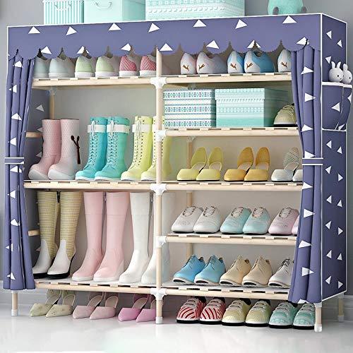 Shoe rack scarpiera_doppia fila 6 strati 36 paia di scarpe, armadio scarpiera multifunzionale in legno massello assemblato antipolvere in tessuto, una varietà di stili tra cui scegliere