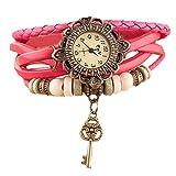 Westeng Braccialetto da Donna con orologio vintage, in pelle PU, da donna, con ciondolo a forma di chiave