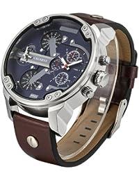 Cagarny 6820Fashionable Multifunctional Korean Style cuarzo Business Sport Wrist Reloj con sintética Band & GMT Time & Pedometer & Calendar & Luminous pantalla para hombre (Brown)