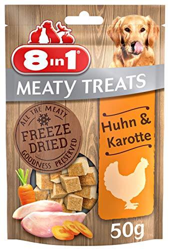 8in1 Meaty Treats, gefriergetrocknete Hunde Leckerlis mit Huhn & Karotte, getreidefrei und ohne Zucker (1 Beutel, 50 g)