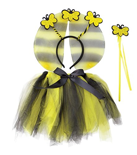 Kostüme Bumble Tutu Bee (Bumble Bee TuTu, Wings, HBand, Wand Set costume Kids Fancy)