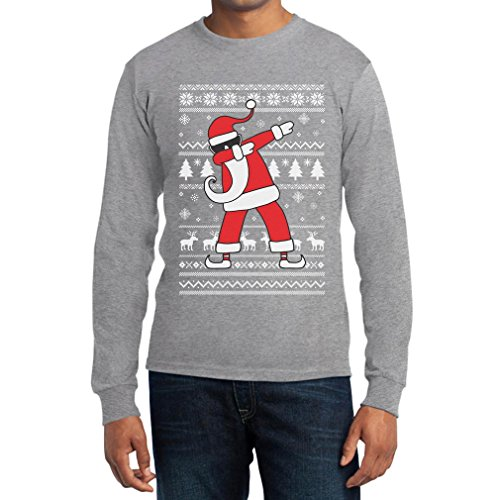 Weihnachten Dab vom Weihnachtsmann Langarm T-Shirt Large Grau