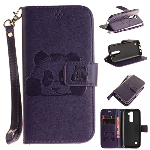 LG K8 Case,LG K8 Cover,LG K8 Wallet Case,LG K8 Leather Case,Cozy Hut Cute Cartoon Pattern Panda for LG K8 PU Leather Hand Wrist Strap Fashion Stand Folio Anti Shock Flip Case with Magnet Closure and Card Slots Holster Mobile Phone Protective Case For LG K8 - Purple Panda