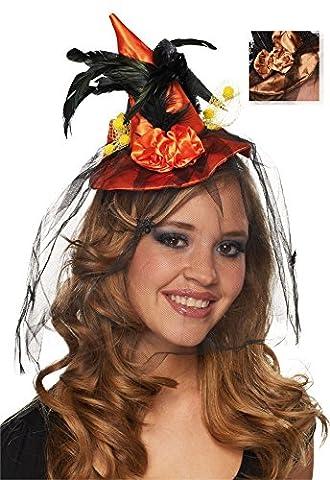 Haarreif Mini Hexenhut Blume zu Halloween Karneval Fasching orange