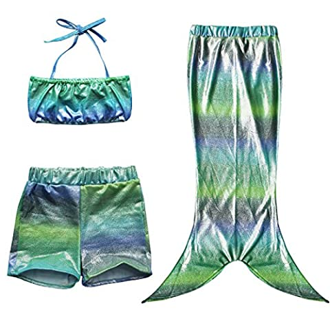 EFE Filles Bébé Maillot de bain 3 pièces Halter 1pc Top/Haut + 1pc Shorts + 1pc Queue de sirène Jupe Ensemble Sea-ménage Vacance Surf été Plage 2-11 Ans (5-6 ans, Gradient Vert)