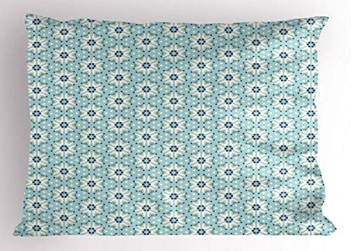 Navy and Teal Pillow Sham, Spring Flowers Bouquet Pattern with Various Dots on Pastel Colored Background, Decorative Standard King Size Printed Kissenbezug Pillowcase, 18 X 18 inches, Multicolor (Navy King-size-pillow Shams)
