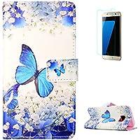 KaseHom Samsung Galaxy S7 + [Protector de Pantalla] Dibujos Animados Estuche Billetera de Cuero Folio con Ranuras para Tarjetas y Cubierta Flip magnética Slim Anti-Arañazos Case - Mariposa Azul