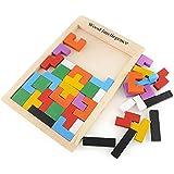 Peradix Tetris Tangram Holzpuzzles Lernspielzeug Intelligenz Pädagigisches Spielzeug für Kinder ab 3 Jahre