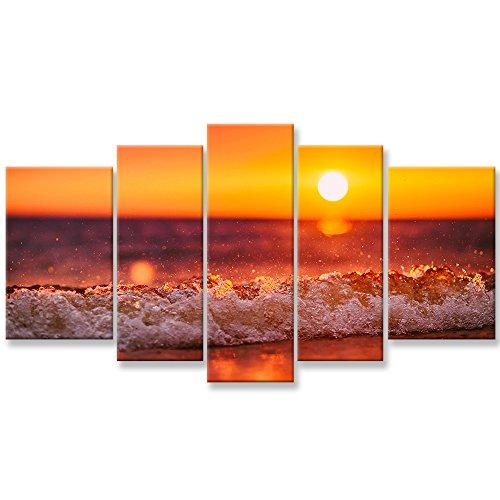 Lienzo Arte de la pared Pinturas para la decoración del hogar Puesta del sol Sea Wave Spray de agua Imagen 5 Piezas Giclee moderno Obra de arte enmarcada Las imágenes para la sala de estar Decoración Beach Waves Paisaje marino Impresiones fotográficas en lienzo