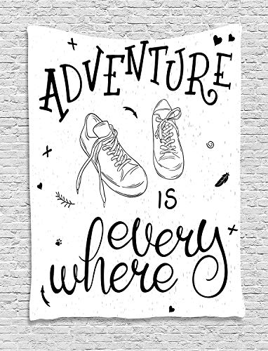 """TRUIOKO Adventure Tapiz, Motivational Design Youth Theme with Pair of Sneakers Walking Hiking Wanderlust, Wall Hanging for Bedroom Living Room Dorm Wall Tapiz Decor,80"""" X 60"""" Inches, Black Whi"""