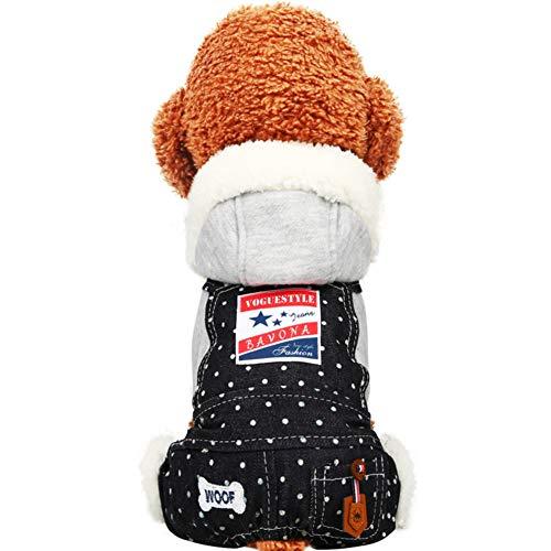 Hund kleidung jeans latz hose teddy welpen vier füße herbst und winter -J XL -