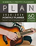 5 year monthly planner 2020-2024: Monthly Schedule Organizer - Agenda Planner For The Next Five Years, 60 Months Calendar, Appointment Notebook Large Size   playing guitar design