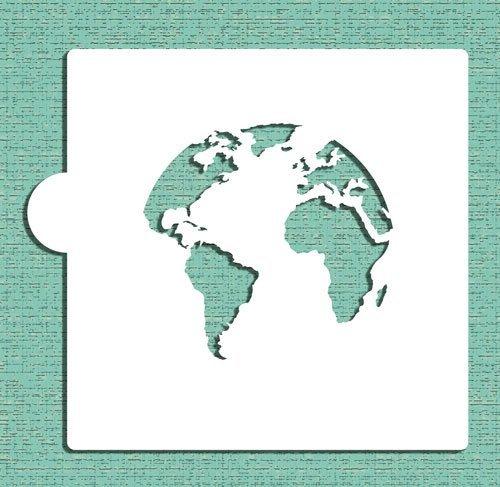 Weltkarte (Globe) Cookie und Craft Schablone CM113von Designer Schablonen -