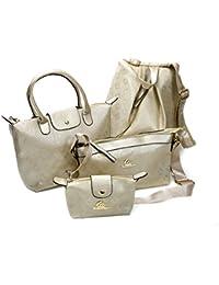 LONGCLASS exklusives Designer Handtaschen Set gold KLEOPATRA sehr edel verarbeitete Taschen dezentes Damen Taschenset in gold mit elegantem Rucksack Umhängetasche Kosmetiktasche Handtasche 4 teilig