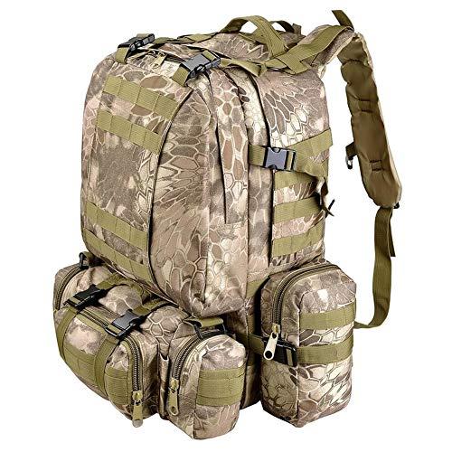 armine88 Rucksack 55L Große Kapazität Taktische Armee Camping Praktische Militär Sport Outdoor Bag Wandern Molle Rucksack Jagd Oxford Stoff Trekking(Pythons Varve) - Python-stoff