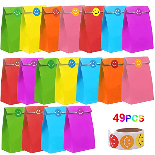 FUNVCE Papier Geschenktüten Kinder,48pcs Papier Candy Tüten Partytüten Set,Bunt Kraftpapier Deko Taschen mit Lächeln Gesicht Stickern für Geburtstag Hochzeit Weihnachten