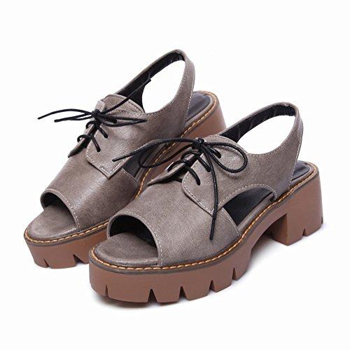 Mee Shoes Damen chunky heels Quaste Plateau Sandalen Grau