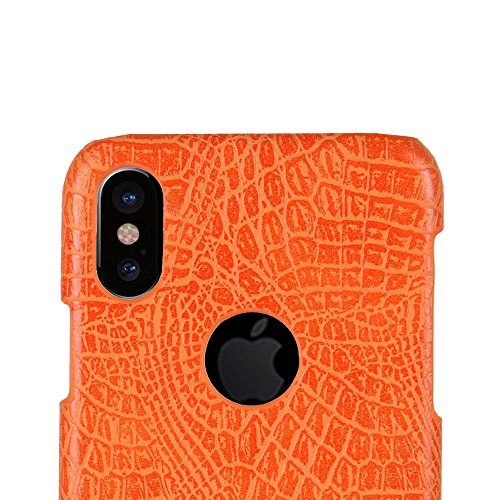 Coque pour iPhone X, iPhone 10, SunFay Etui Rigide PC Solide PU Cuir Slim Mince Simple Anti-Rayures Léger Protection Case Etui Coque pour iPhone X, iPhone 10 - Rouge Orange