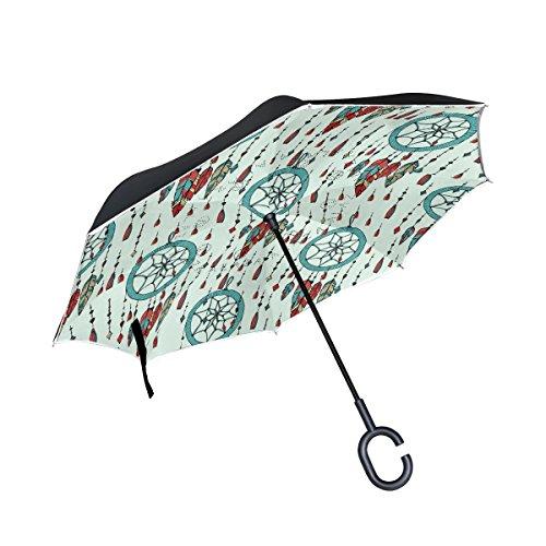 OKONE Paraguas Reversible de Apertura automática con Paraguas Compacto y Recto, Paraguas con atrapasueños Pintado a Mano para Coche y Exterior