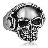 Blisfille Edelstahl Ring Vergoldet Retro Ringe Fingerring Headset Schädel Daumenring Herren Edelstahl Silber
