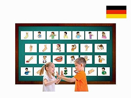 Bildkarten zur Sprachförderung - Grundwortschatz Körper / Körperteile - Für Kinder und Erwachsene in Kita, Kindergarten, Grundschule, Logopädie, Autismus, Demenz und Therapie - DIN A5