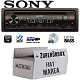 FIAT Marea & Weekend 185 - Autoradio Radio Sony CDX-G1300U - CD/MP3/USB - Einbauzubehör - Einbauset