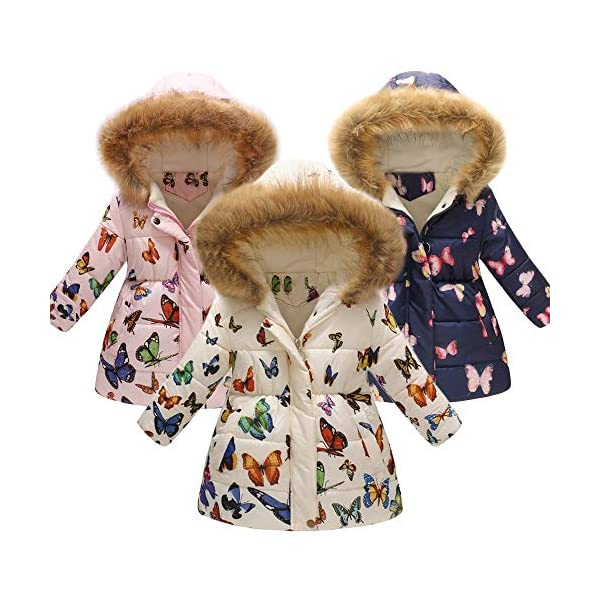 Amlaiworld Abrigos niñas Invierno Chaqueta Caliente Gruesa Floral del Invierno de Niñas bebés niños Abrigo con Capucha… 2