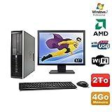 Lot PC HP Compaq 6005 Pro SFF AMD 3GHz 4GB 2To Burner WIFI Win 7 Pro + 17