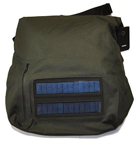 e-mission Solar 2W Tasche Messenger mit Solarpanel und Powerbank Akku, 2200mAh