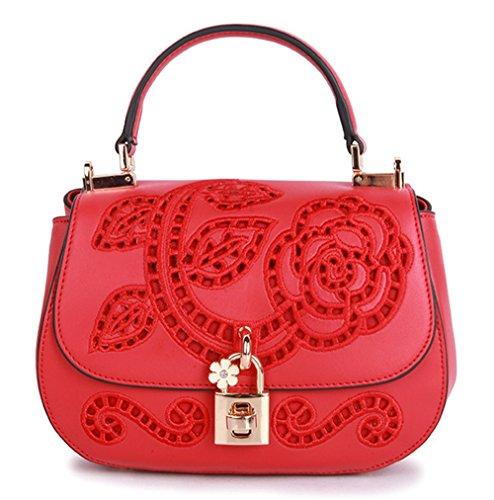 Xinmaoyuan Borse donna in pelle Borsette di ricamo di vacchetta Mini borsa retrò borsette da ricamo,grigio Rosso