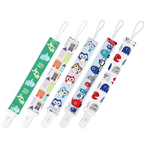 GAGAKU 5 PCS Dummy Clips Pacifier Holder for Girls and Boys – Multicoloured Test