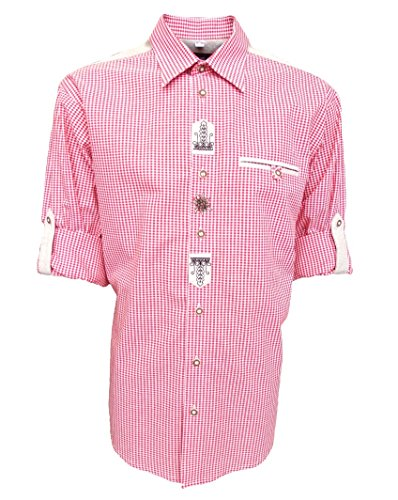 Trachtenhemd für Lederhosen mit Stickerei mittelrot, Hemdgröße:M