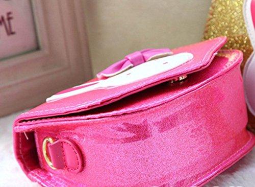 Happy Cherry Kleines Mädchen Tasche Kinder Umhängetasche Mode Frauen Schultertasche PU Leder Handtasche Mit Häschen Verstellbar Schultergurt Taschen Kindertasche Girls Bag 15,5 * 6,5 * 12cm - Neonpink Neon Pink