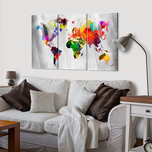 murando Modernes Acrylglasbild 120x80 cm - Glasbilder - 3 Teilig - Wandbilder XXL - Kunstdrucke - Wandbild - Weltkarte Welt Karte Kontinent Landkarte k-A-0098-k-e - 4