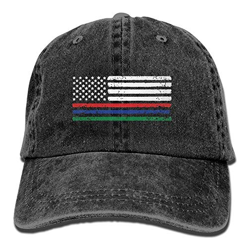 Thin Red Blue Green Line American Flag Denim Jeanet Baseball Cap Adjustable Dad Hat