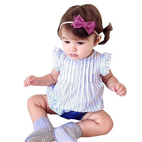 JUTOO Sommer Baby Kinder Mädchen Prinzessin ärmelloses Kleid Striped Print Party Dress (Blau,90)