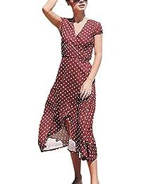 AILIENT Vestito Vacanza V-collo Estive Donna Abito Midi Elegante Manica  Corta Dress Casual Vestiti 50d7df75a20