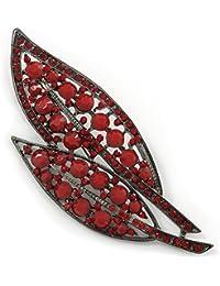 93a8aa90339 Avalaya Large, Vintage Inspired Red Acrylic/Crystal Bead Two Leaf Brooch in  Gun Metal