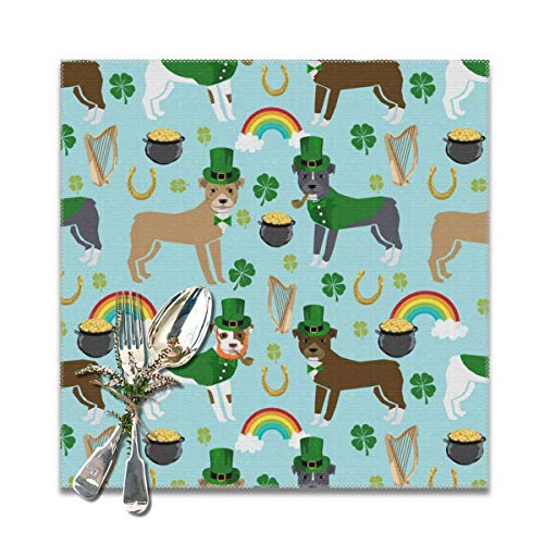 Funny&shirt Pitbull Leprechaun st Pattys Day st. Patricks Dog Design -Blue Placemats for Dining Table,Washable Placemat Set of 6, 12x12 inches (Day Shirts St Patty)