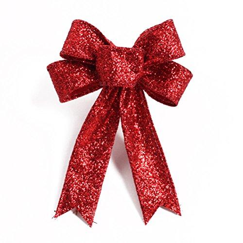 OULII Decorazioni di Natale con fiocchi Glitter oro Bowknot artificiale albero di Natale corone Decor Natale