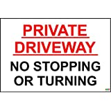 Private Driveway No Stopping Or Turning A4 Pre-Drilled Plastic Sign Red & Black - 1.2mm rigid plastic 300mmm x 200mm