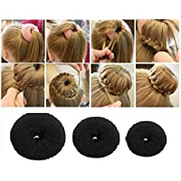 AASA 3Pcs Combo of Bun Maker Hair Donut Juda Accessories for Hair for Girls and Women (Black) 20Grams Pack of 1 (M-1)