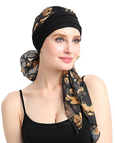 FocusCare weiche Womens Turban Kopftuch Kopf wickelt für Krebs 100% Bambus cool - Milch Seide