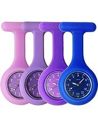 Sibytech Grifri Tunica medica in silicone per infermieri, orologio al quarzo, design orologio, orologio da tasca per operai di assistenza sanitaria, infermieri e medici (Porpora Blu Marina)